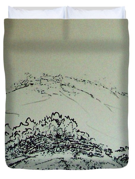 Duvet Cover featuring the drawing Rfb0211-2 by Robert F Battles