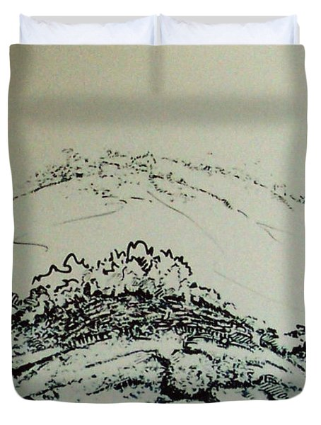 Duvet Cover featuring the drawing Rfb0211 by Robert F Battles