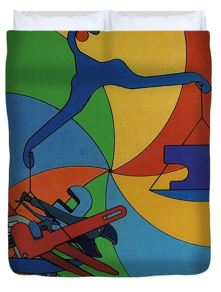 Duvet Cover featuring the drawing Rfb0924 by Robert F Battles