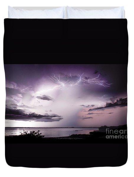 White Lightning Duvet Cover by Quinn Sedam
