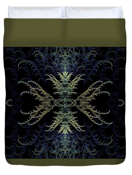 Rhapsody In Blue And Gold Duvet Cover by Lea Wiggins