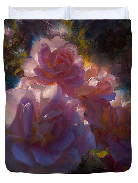 Duvet Cover featuring the painting Rhapsody Roses - Flowers In The Garden Painting by Karen Whitworth