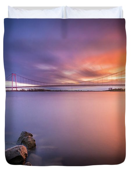 Rhine Bridge Sunset Duvet Cover