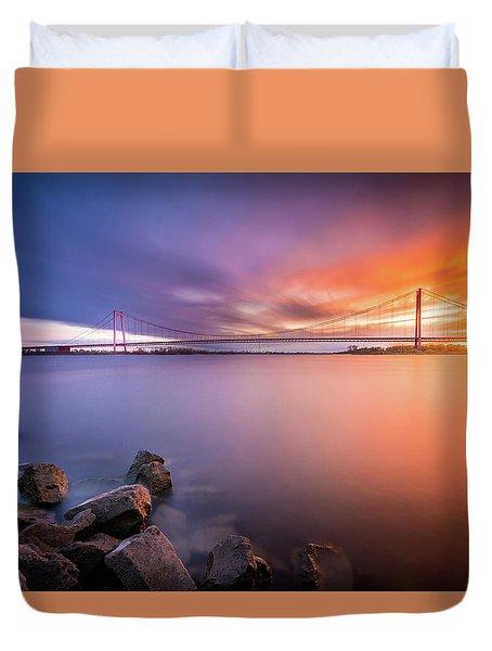 Rhine Bridge Sunset Duvet Cover