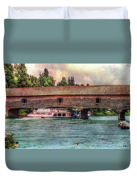 Duvet Cover featuring the photograph Rhine Shipping by Hanny Heim
