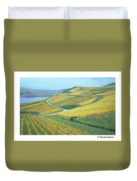Duvet Cover featuring the photograph Rhine Vineyard by R Thomas Berner