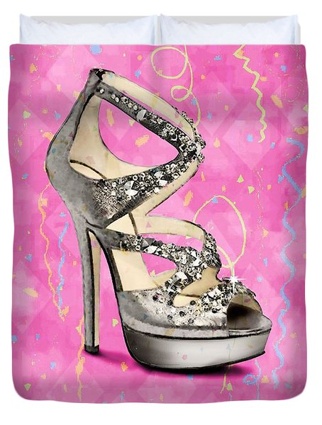 Rhinestone Party Shoe Duvet Cover