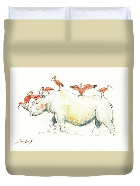 Rhino And Ibis Duvet Cover