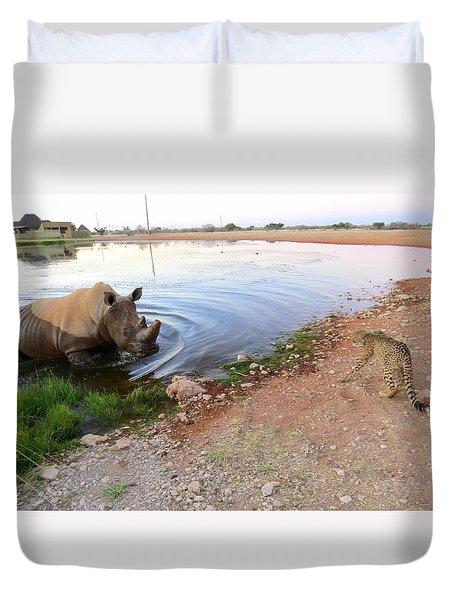 Rhino Cheetah Confrontation Duvet Cover
