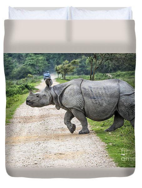 Rhino Crossing Duvet Cover