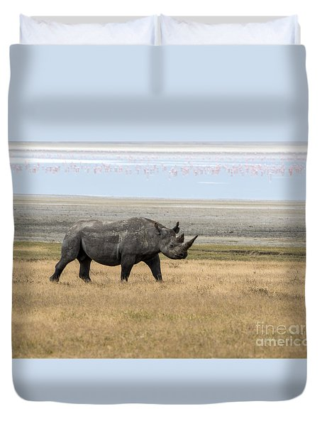 Duvet Cover featuring the photograph Rhino In Ngorongoro by Pravine Chester