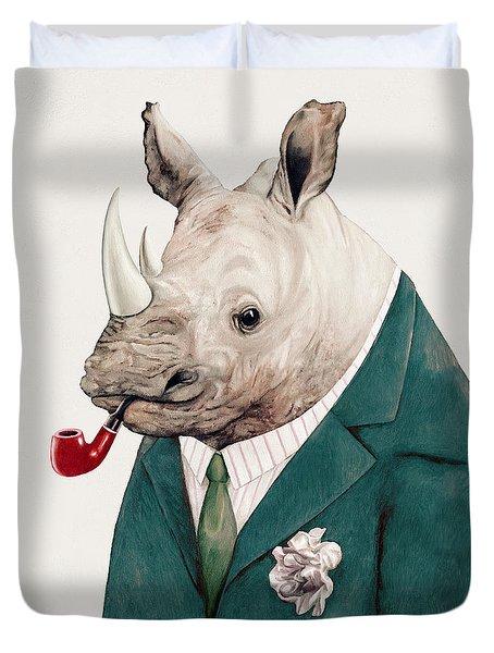 Rhino In Teal Duvet Cover