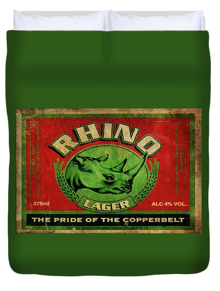 Duvet Cover featuring the digital art Rhino Lager by Greg Sharpe