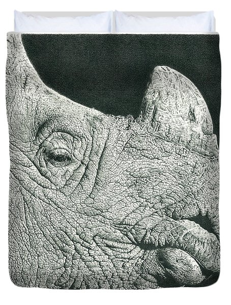 Rhino Pencil Drawing Duvet Cover