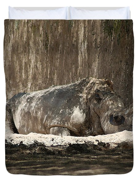 Duvet Cover featuring the digital art Rhino by Walter Chamberlain