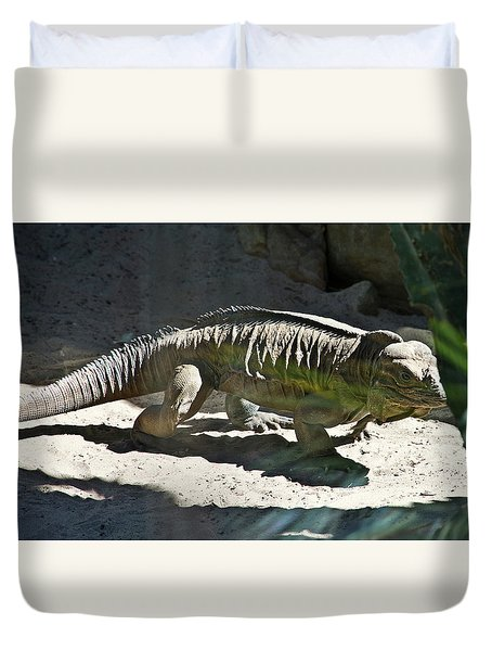 Duvet Cover featuring the photograph Rhinoceros Iguana by Miroslava Jurcik