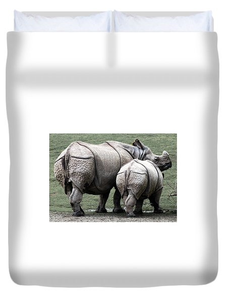 Rhinoceros Mother And Calf In Wild Duvet Cover