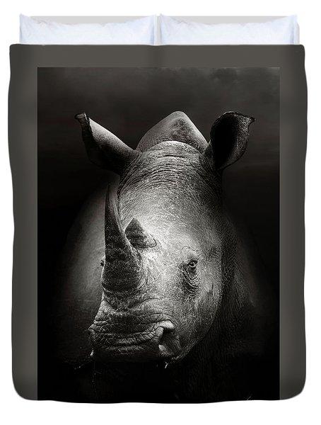 Rhinoceros Portrait Duvet Cover