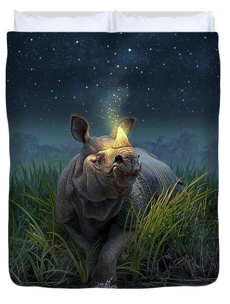 Rhinoceros Unicornis Duvet Cover by Jerry LoFaro