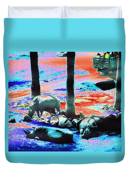Rhinos Having A Picnic Duvet Cover by Abstract Angel Artist Stephen K