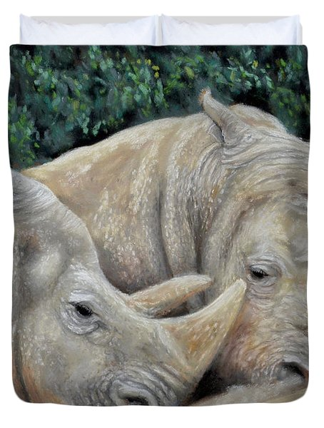 Rhinos Duvet Cover by Sam Davis Johnson