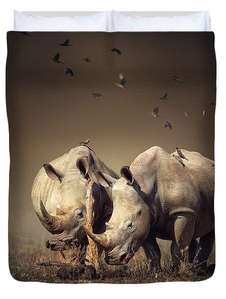 Rhino's With Birds Duvet Cover