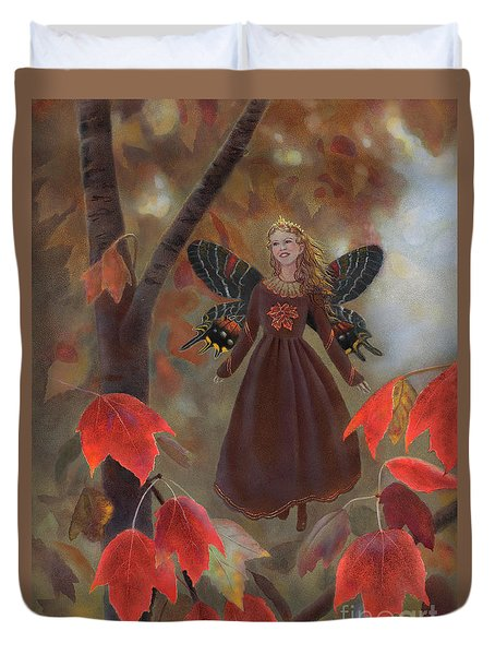 Duvet Cover featuring the painting Rhiona In The Maple Tree by Nancy Lee Moran