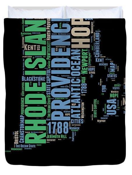 Rhode Island Word Cloud 2 Duvet Cover