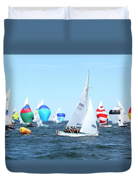 Duvet Cover featuring the photograph Rhodes Nationals Sailing Race Dennis Cape Cod by Charles Harden