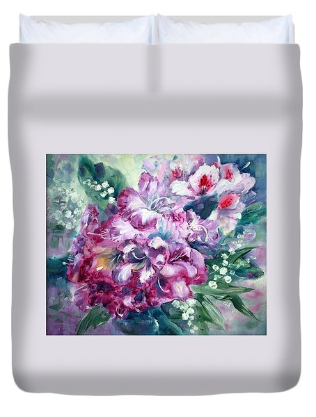 Rhododendron And Lily Of The Valley Duvet Cover