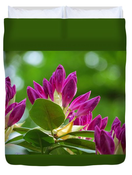Rhododendron Buds Duvet Cover by MTBobbins Photography