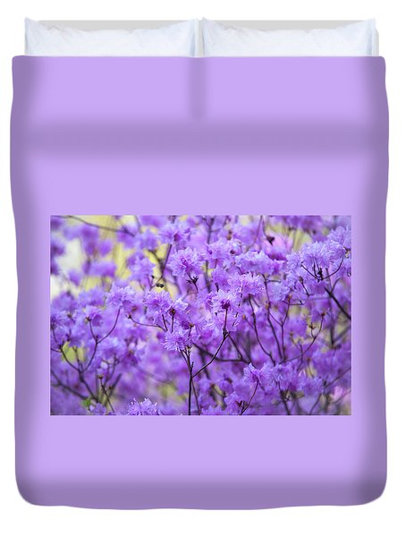 Duvet Cover featuring the photograph Rhododendron In Bloom. Spring Watercolors by Jenny Rainbow