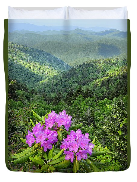 Rhododendron View Duvet Cover by Alan Lenk
