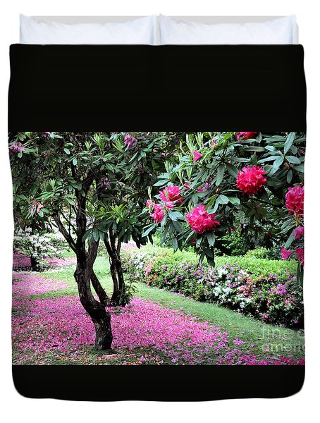 Duvet Cover featuring the photograph Rhododendrons Blooming Villa Carlotta Italy by Tanya Searcy