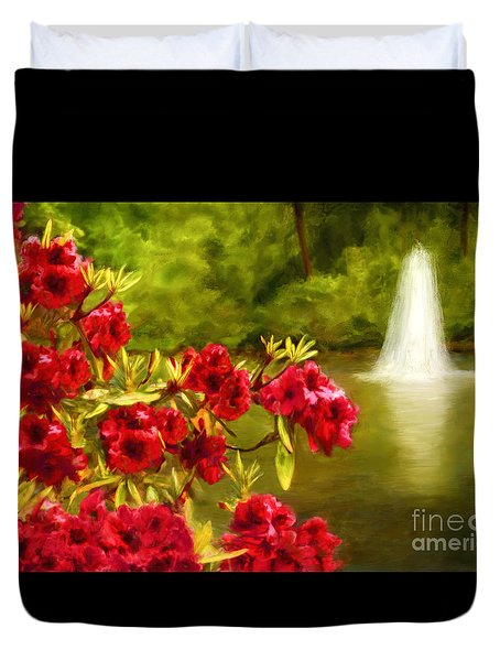 Painted Rhododendrons Fountain In Pond   Duvet Cover