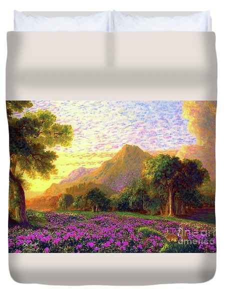 Rhododendrons, Rabbits And Radiant Memories Duvet Cover