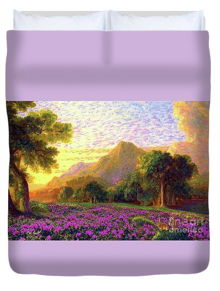 Rhododendrons, Rabbits And Radiant Memories Duvet Cover by Jane Small