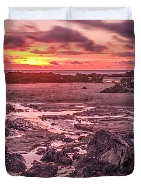 Rhosneigr Beach At Sunset Duvet Cover