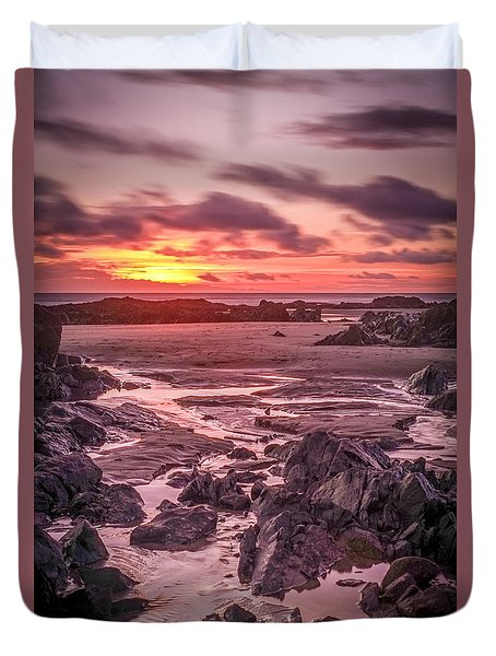 Rhosneigr Beach At Sunset Duvet Cover