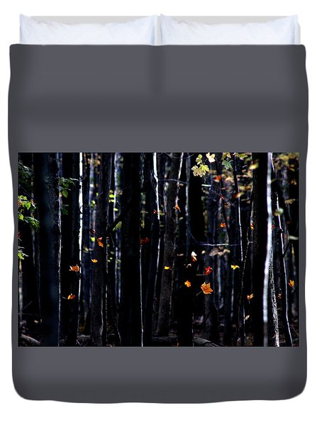 Duvet Cover featuring the photograph Rhythm Of Leaves Falling by Bruce Patrick Smith
