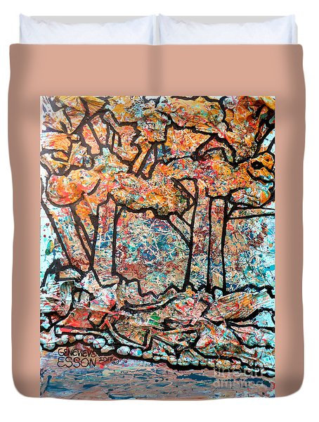 Duvet Cover featuring the mixed media Rhythm Of The Forest by Genevieve Esson