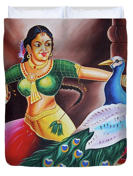 Duvet Cover featuring the painting Rhythms Of Tradition by Ragunath Venkatraman