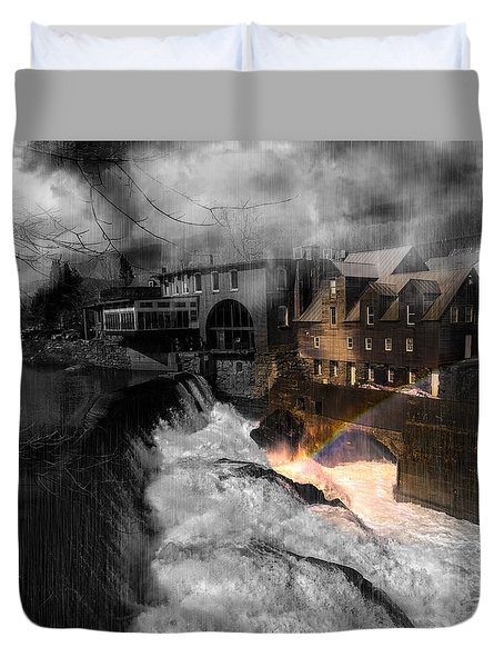 Rainbow In The Mist Duvet Cover by Sherman Perry