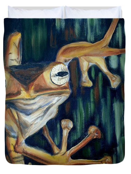 Duvet Cover featuring the painting Ribbit by Donna Tuten