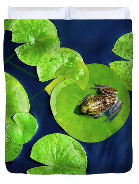 Duvet Cover featuring the photograph Ribbit by Greg Fortier