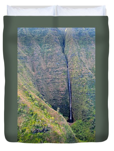 Ribbon Falls On The Napali Coast Duvet Cover