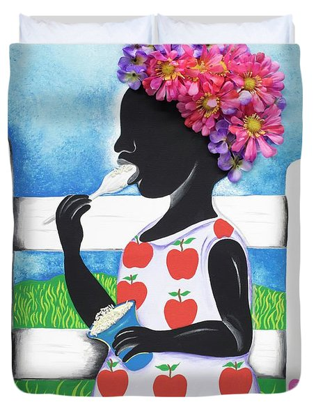 Rice Cream Girl Duvet Cover