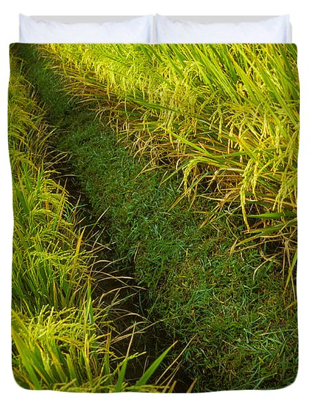 Rice Field Hiking Duvet Cover