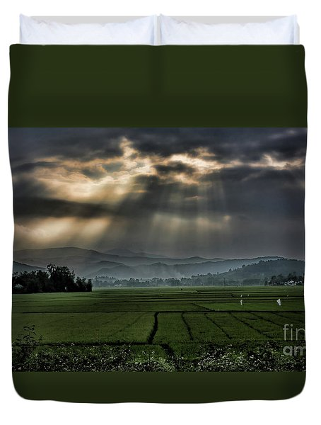 Rice Fields Rays Light  Duvet Cover