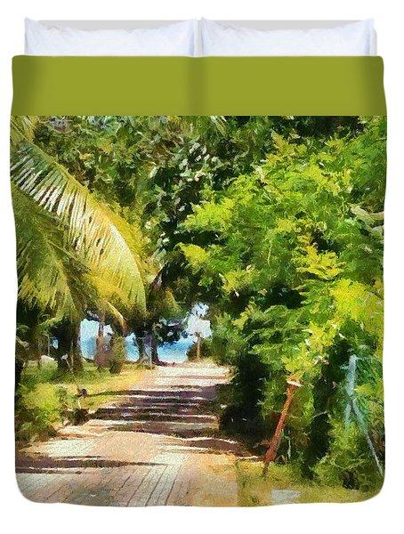 Rich Green Path Duvet Cover